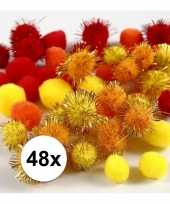 Hobby pompons 15 20 mm geel oranje rood