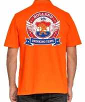 Holland drinking team polo t-shirt oranje met kroon voor heren