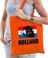 Holland leeuw met vlag supporter tas oranje voor dames en heren ek wk voetbal koningsdag