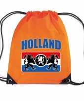 Holland met wapenschild nylon supporter rugzakje sporttas oranje ek wk voetbal koningsdag