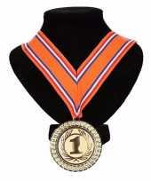Kampioensmedaille nr 1 oranje rood wit blauw