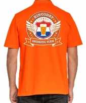 Kingsday drinking team polo t-shirt oranje met kroon voor heren