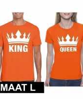 Koppel shirts koningsdag king queen oranje dames en heren maat l