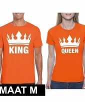 Koppel shirts koningsdag king queen oranje dames en heren maat m