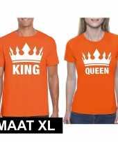 Koppel shirts koningsdag king queen oranje dames en heren maat xl