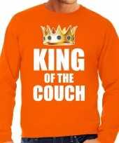 Kwoningsdag king of the couch sweater trui voor thuisblijvers tijdens koningsdag oranje heren