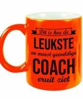 Leukste en meest geweldige coach cadeau mok beker neon oranje 330 ml cadeau trainer