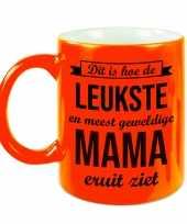 Leukste en meest geweldige mama cadeau mok beker neon oranje 330 ml cadeau verjaardag moederdag