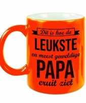 Leukste en meest geweldige papa cadeau mok beker neon oranje 330 ml cadeau verjaardag vaderdag
