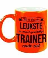 Leukste en meest geweldige trainer cadeau mok beker neon oranje 330 ml