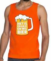 Mouwloos shirt oranje met tekst het is oranje en wil bier heren