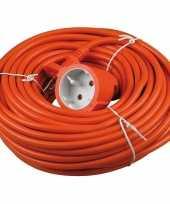 Niet geaarde oranje verlengsnoer 20 meter binnen buiten