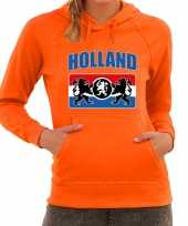 Oranje fan hoodie sweater met capuchon holland met een nederlands wapen ek wk voor dames