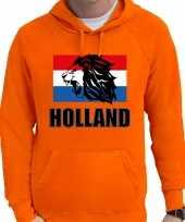 Oranje fan hoodie sweater met capuchon holland met leeuw en vlag ek wk voor heren