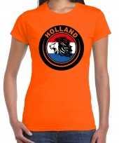 Oranje fan shirt kleding holland met leeuw en vlag ek wk voor dames 10290250