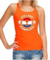 Oranje fan tanktop kleding holland kampioen met beker ek wk voor dames