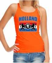 Oranje fan tanktop kleding holland met een nederlands wapen ek wk voor dames