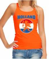 Oranje fan tanktop kleding holland met oranje leeuw ek wk voor dames