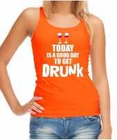 Oranje good day to get drunk wijn tanktop mouwloos koningsdag t-shirt voor dames