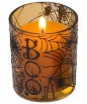 Oranje halloween versiering kaars in glas 6 cm