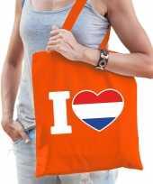 Oranje i love holland katoenen tas voor dames