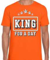 Oranje koningsdag festival shirt king for a day voor heren