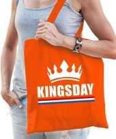 Oranje koningsdag tas met kingsday bedrukking voor dames