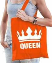 Oranje koningsdag tas met queen bedrukking voor dames