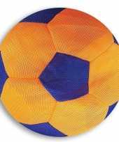 Oranje met blauwe mesh speelgoed bal voor kinderen 23 cm