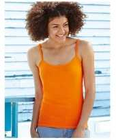 Oranje shirtje met spaghetti band