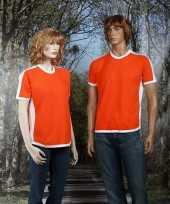 Oranje t-shirt met witte streep
