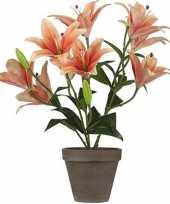 Oranje tijgerlelie kunstplant 47 cm met grijze pot