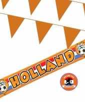 Oranje versiering buiten pakket 1x holland banner 370x60 300 meter vlaggetjes
