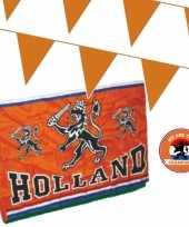 Oranje versiering buiten pakket 1x mega holland spandoek vlag 200 meter vlaggetjes