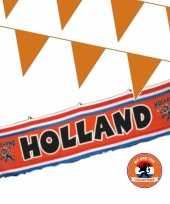 Oranje versiering buiten pakket 1x spandoek 70 x 300 cm 100 meter vlaggetjes