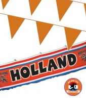 Oranje versiering buiten pakket 1x spandoek 70 x 300 cm 200 meter vlaggetjes