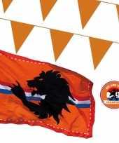 Oranje versiering buiten pakket 2x mega holland vlag 300 meter vlaggetjes