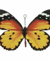 Oranje zwarte metalen tuindecoratie monarch vlinder 20 cm