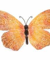 Oranje zwarte metalen tuindecoratie vlinder 39 cm