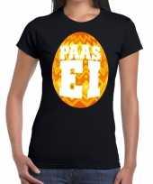 Pasen shirt zwart met oranje paasei voor dames