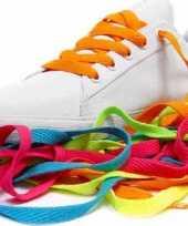 Platte schoenveters oranje