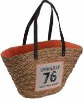 Rieten tas met stoffen voering oranje