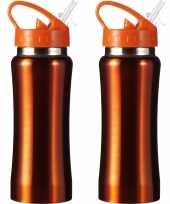 Set van 2x stuks drinkfles waterfles sport bidon oranje staal 600 ml