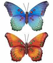 Set van 2x stuks tuindecoratie muur wand vlinders van metaal in oranje en blauw tinten 48 x 30 cm