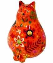 Spaarpot dikke kat poes oranje met plantenprint 17 cm