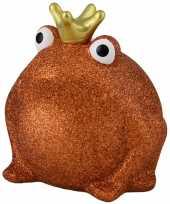Spaarpot kikker met kroontje oranje glitters 16 cm
