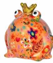 Spaarpot kikker met kroontje oranje met bloemen print 16 cm