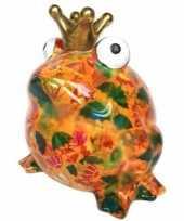 Spaarpot kikker oranje met paraplu