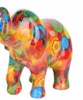 Spaarpot olifant oranje met bloemen print 20 cm type 5