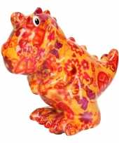 Spaarpot oranje dinosaurus met love and peace hippie print 17 cm